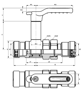 VSH PowerPress ball valve with extended stem and union connection (2 x press)