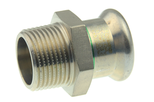VSH XPress Stainless straight connector (press x male thread)